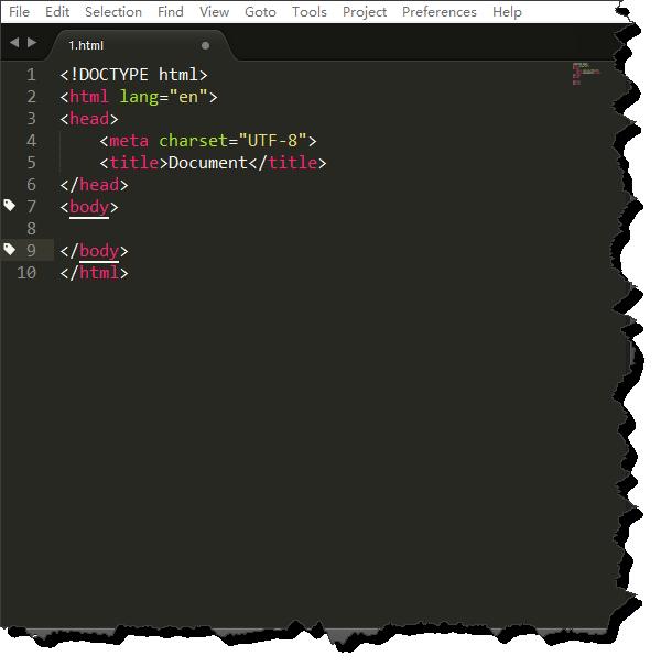 如何使用sublime text新建文件快速生成HTML头部信息?